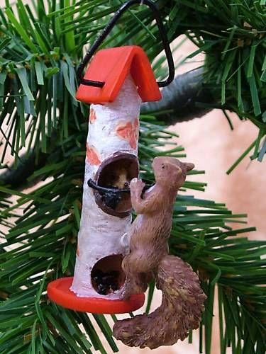 New Red Squirrel Bird Feeder Christmas Tree Ornament